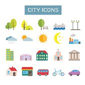 Collection of colorful vector flat city icons