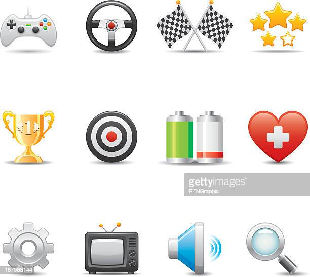 collection of colorful video game icons - joystick stock illustrations, clip art, cartoons, & icons