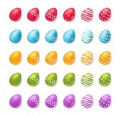 Collection of colourful easter eggs isolated on white.