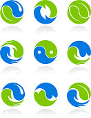 Collection of conceptual Yin Yang symbols