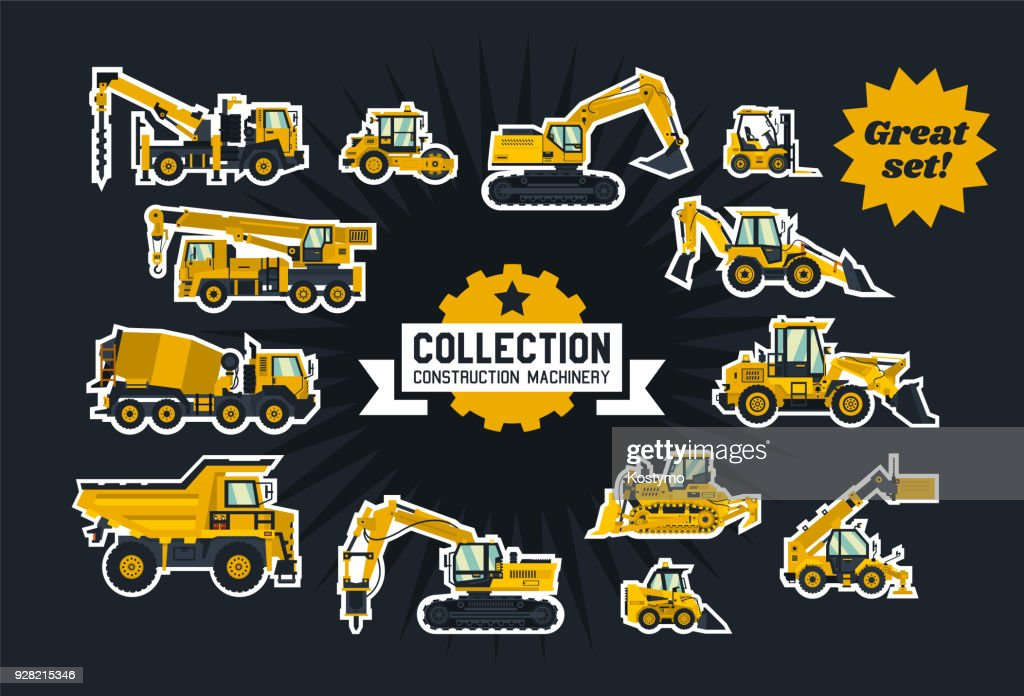 Collection of construction equipment. Special equipment. Objects circled white outline and isolated on a dark background. Excavators, bulldozers, cement mixers, crane truck, paver. Flat style