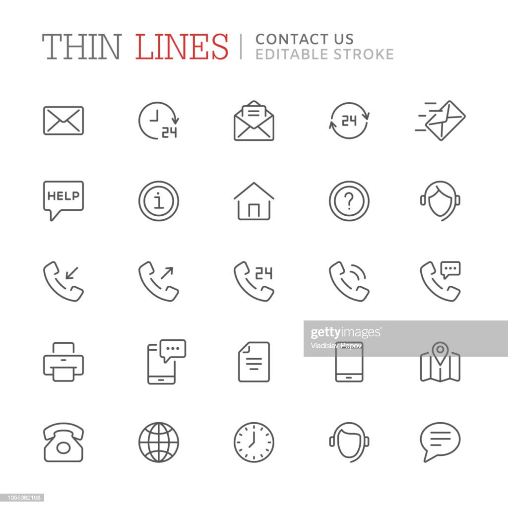 Collection of contact us related line icons. Editable stroke