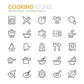 Collection of cooking related line icons. 48x48 Pixel Perfect. Editable stroke