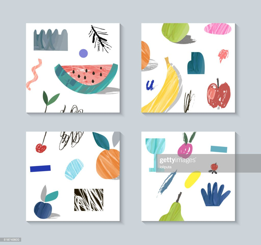 Collection of creative cards with fruits.