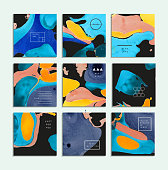 Collection of creative trendy cards. Abstract painting templates