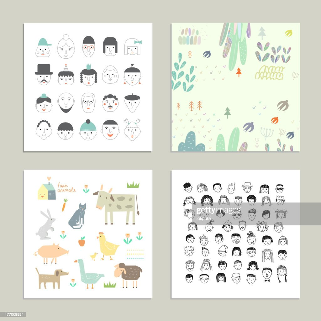 Collection of cute and funny cards. Cartoon vector set.