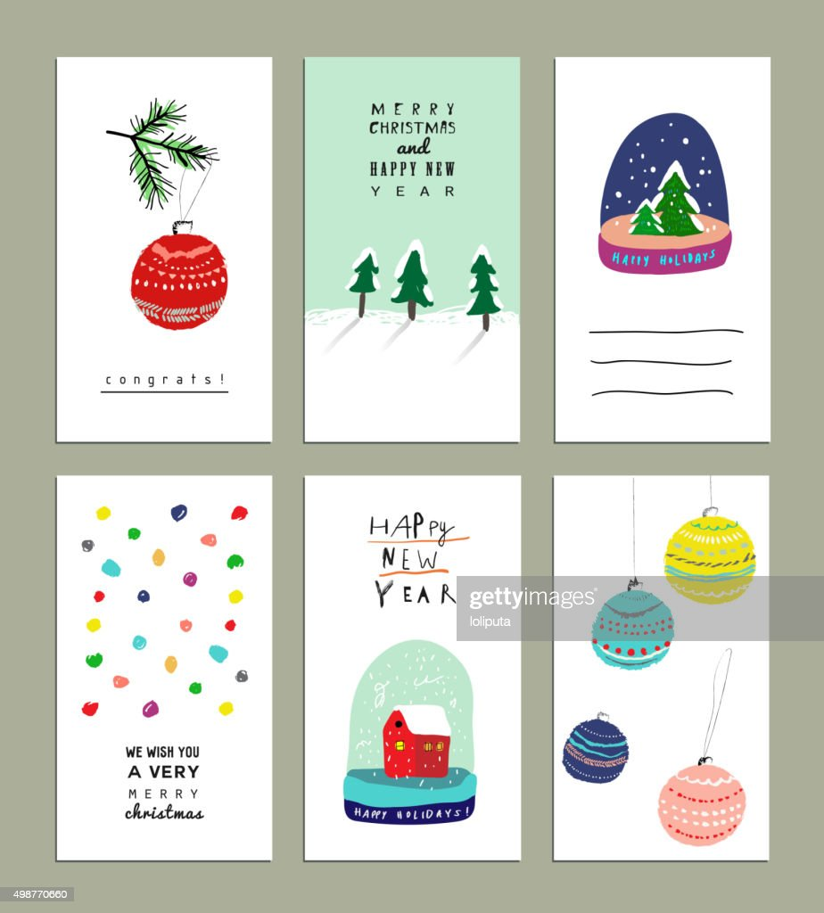 Collection of  Cute Christmas card templates.