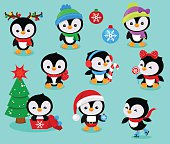 Collection of cute Christmas penguins kids. Vector illustration