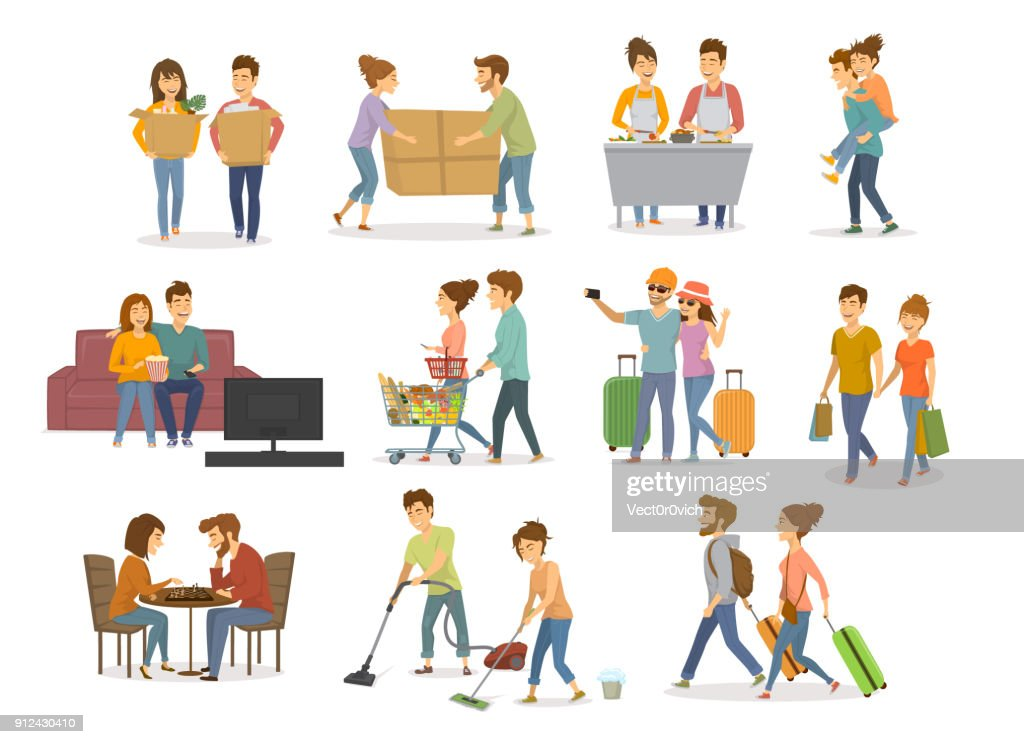 collection of cute couples activities, man and woman shopping in mall, supermarket, moving in a new home, cleaning, watching tv on sofa, travel, cooking,  playing chess, having fun vector illustration set