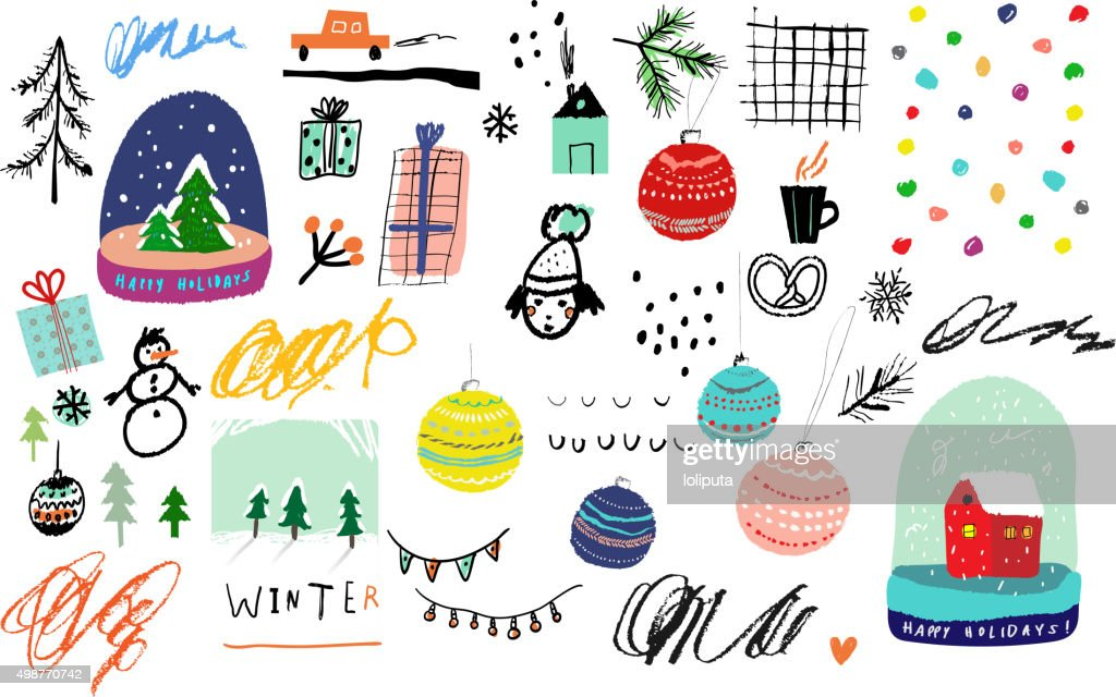 Collection of Cute hand drawn winter elements