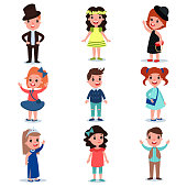 Collection of cute kids characters dressed up in stylish clothes. Fashion children wear. Cartoon boys and girl standing isolated on white. Flat vector design