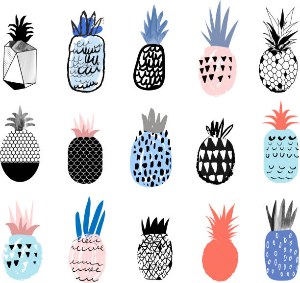 Collection Of Cute Pineapples With Different Hand Drawn Textures Wall Art