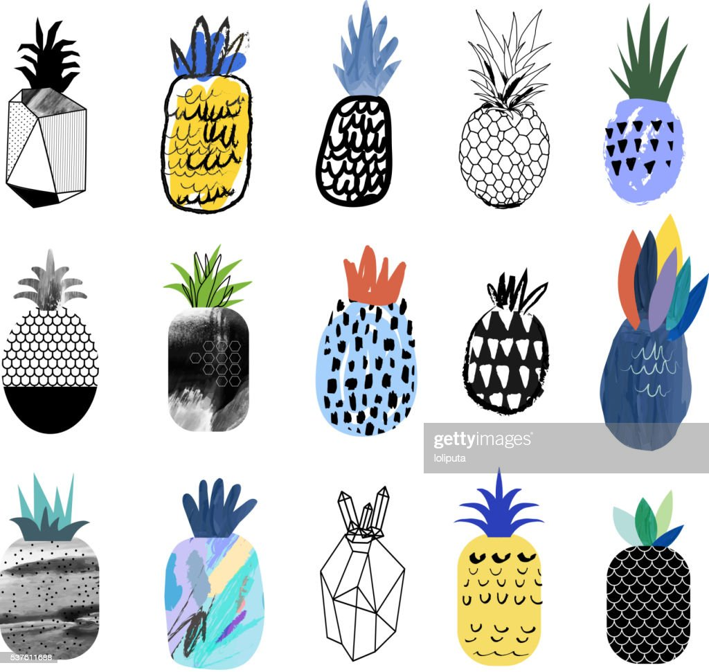 Collection of cute pineapples with different textures.