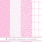 Collection of cute vector seamless patterns in pink and white colors.