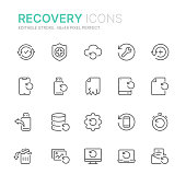 Collection of data recovery related line icons. 48x48 Pixel Perfect. Editable stroke