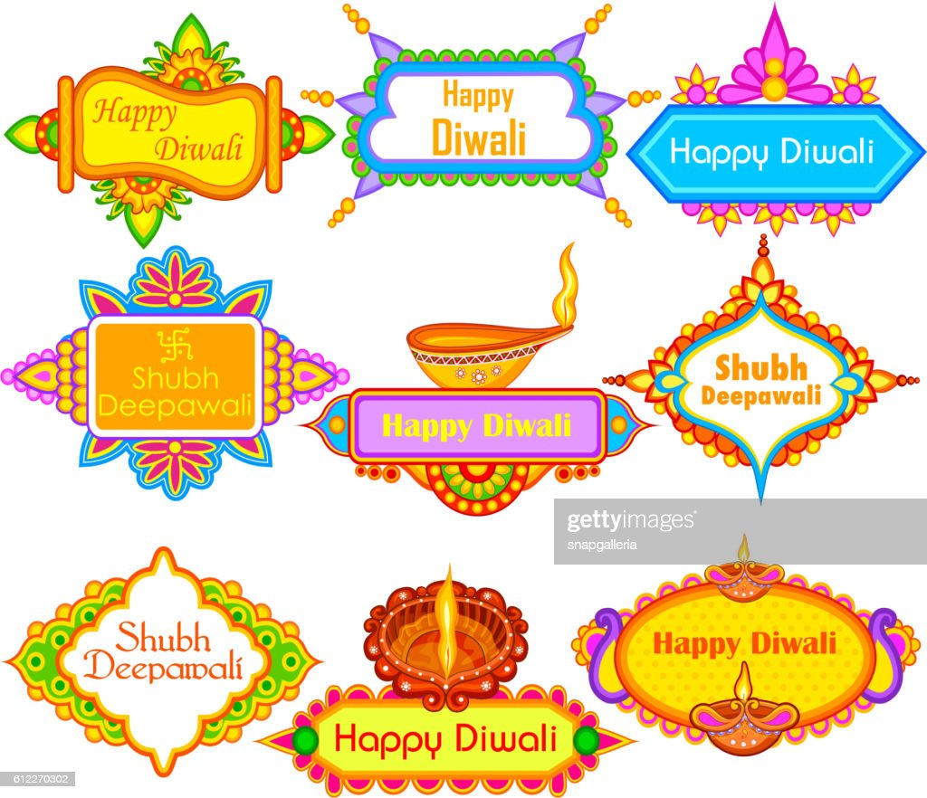Collection of Decorated diya for Happy Diwali holiday background