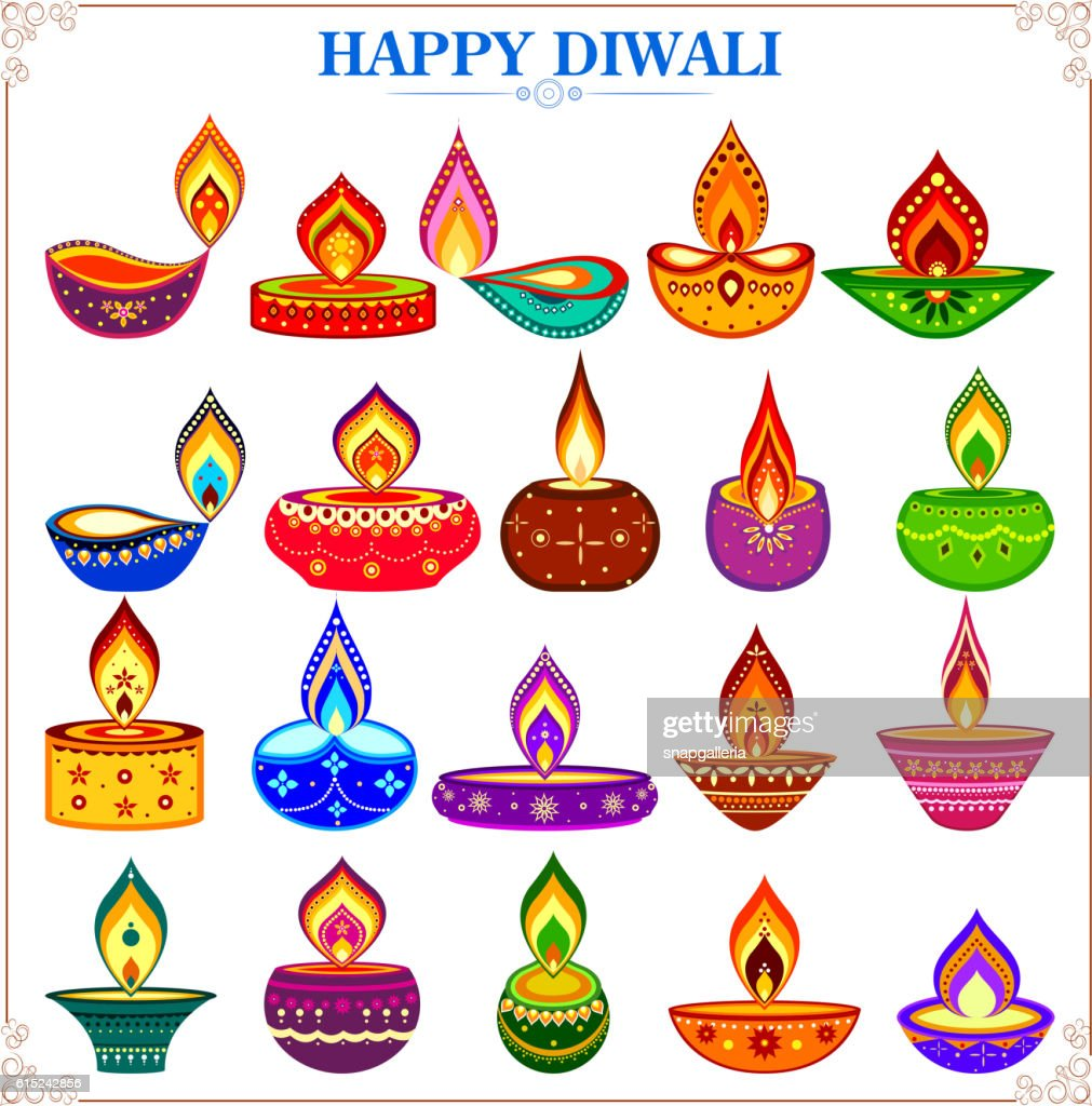Collection of decorated diya for Happy Diwali holiday