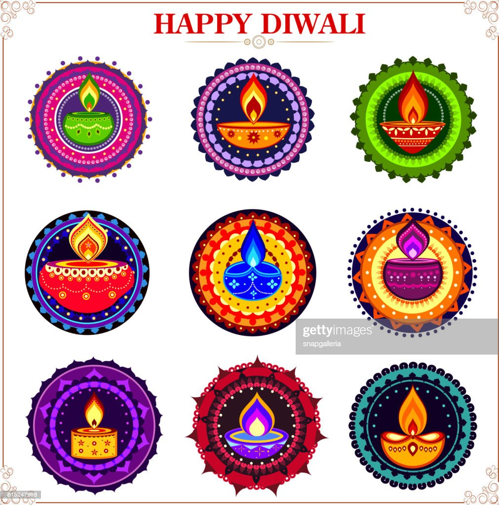 Collection of decorated diya on rangoli for Happy Diwali holiday