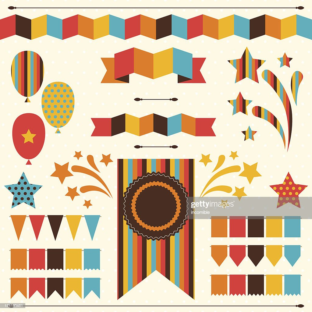 Collection of decorative elements for holiday.