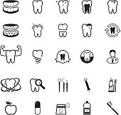 Collection of dental care icons