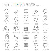 Collection of dentistry thin line icons.