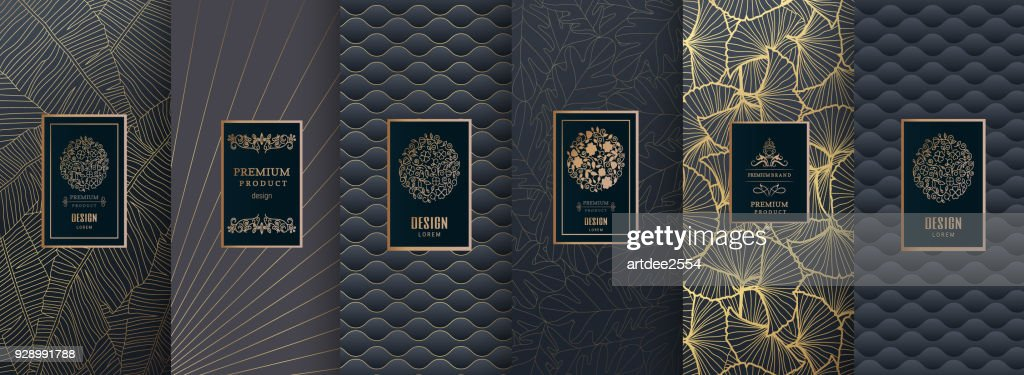 Collection of design elements, labels, icon, frames, for packaging, design of luxury products. for perfume, soap, wine, lotion.Made with golden foil.Isolated on silver and bronze background. vector illustration