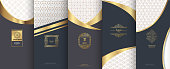 Collection of design elements, labels, icon, frames, for packaging, design of luxury products.for perfume, soap, wine, lotion.Made with golden foil. Isolated on bronze and geometric background. vector illustration