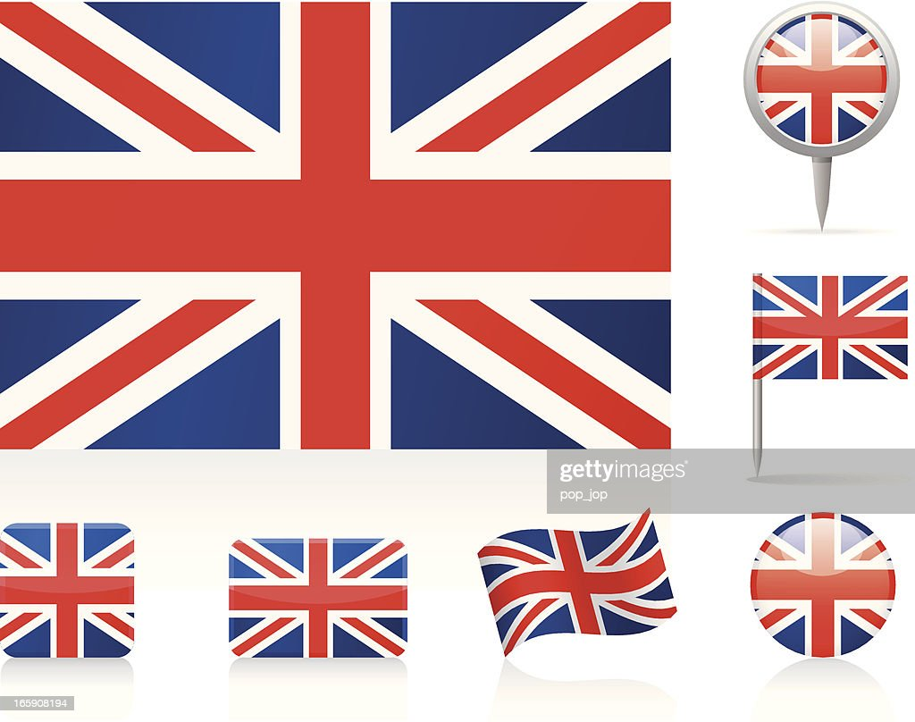 A collection of designs of the United Kingdom flag