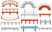 Collection of different bridges. City architecture flat icon. Vector illustration isolated on white background