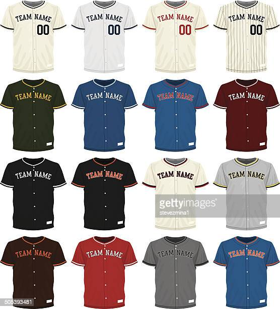 collection of different colored baseball jersey options - sports jersey stock illustrations