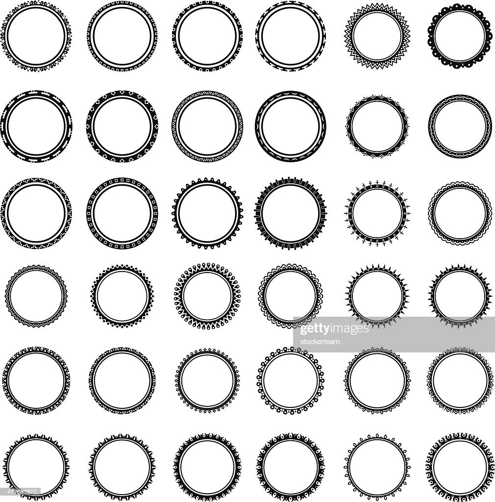 collection of different round labels without text