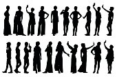 Collection of different short hair woman silhouettes in various poses