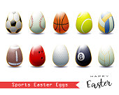 Collection of different Sports Easter Eggs .