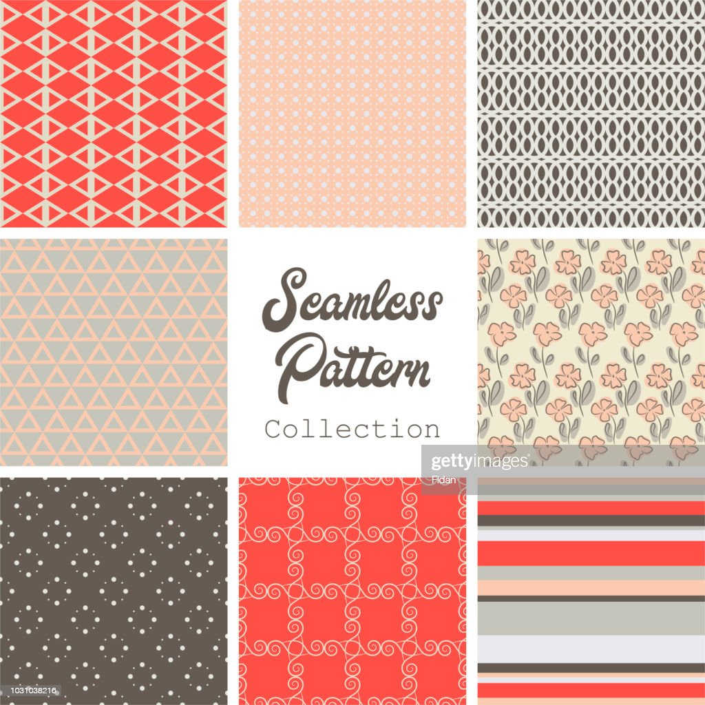 Collection of different stylish red brown beige patterns