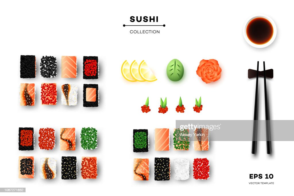 Collection Of Different Sushi Rolls, Chopsticks, Wasabi, Ginger And Sauce. Promotional Template. Top View Vector Food Design