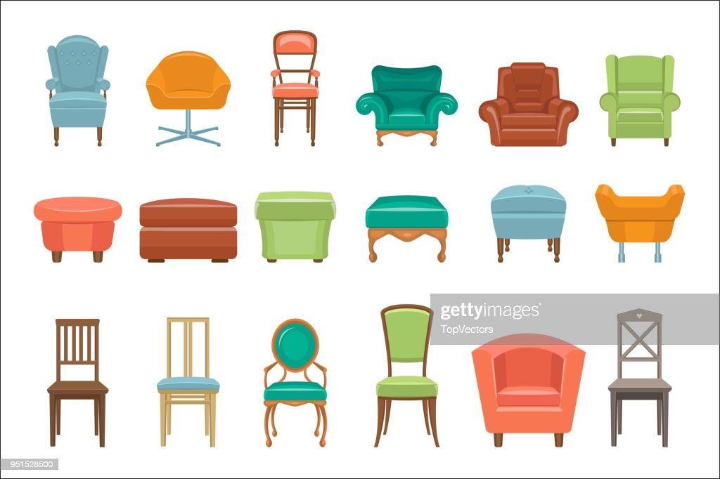 Collection of different types seating. Armchairs, chairs, poufs. Comfortable furniture. Elements for modern home interior. Colorful flat vector icons