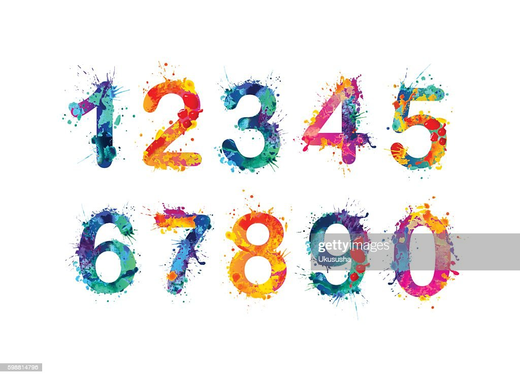 Collection of digits. Numbers, figures
