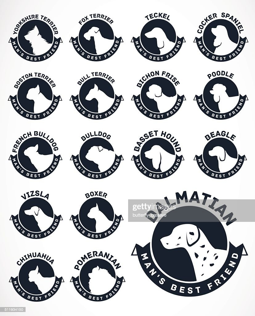 Collection of Dog Silhouettes. Vector Icons.