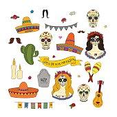 Collection of doodle vector elements for Dia de los Muertos