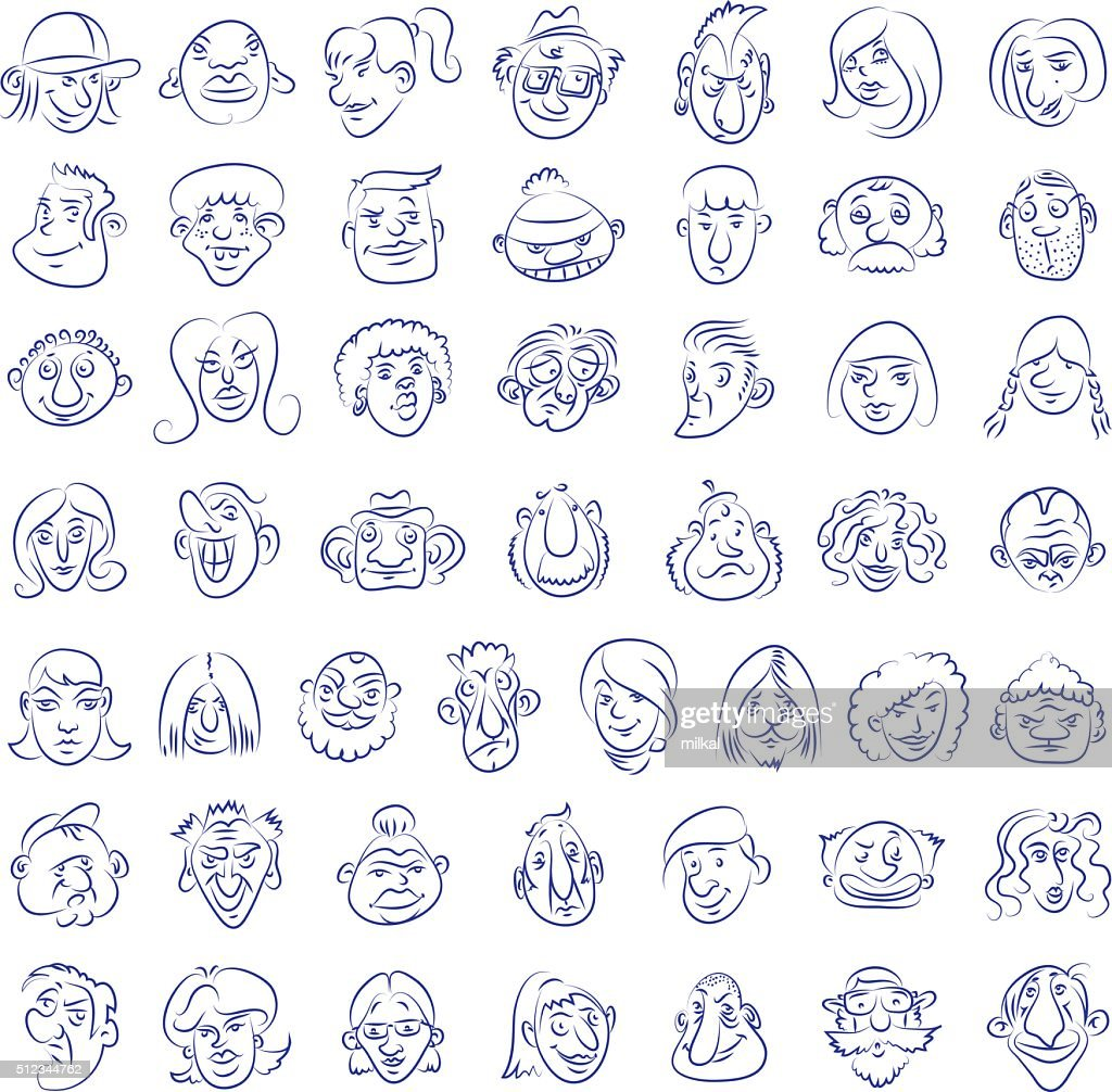 Collection of drawn funny faces