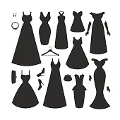 Collection of dresses and accessories