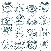 Collection of Easter line icons: decorated eggs, calendar, chicken, gift, basket, message box and letter envelope. Spring Christian holiday signs, symbols, objects, pictograms in thin linear style.