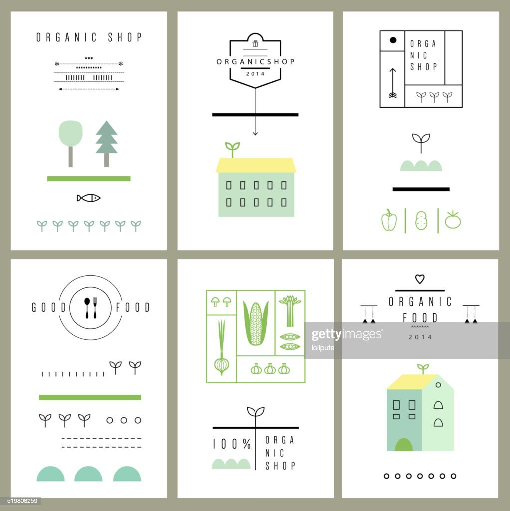 Collection of eco cards. Icons. Vector. Isolated