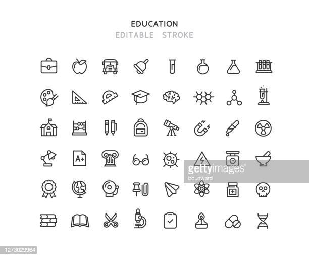 collection of education & chemistry line icons editable stroke - chemistry stock illustrations
