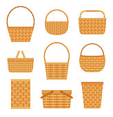 Collection of empty baskets, isolated on white background.