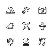 Collection of fantasy thin outline icons for game developers