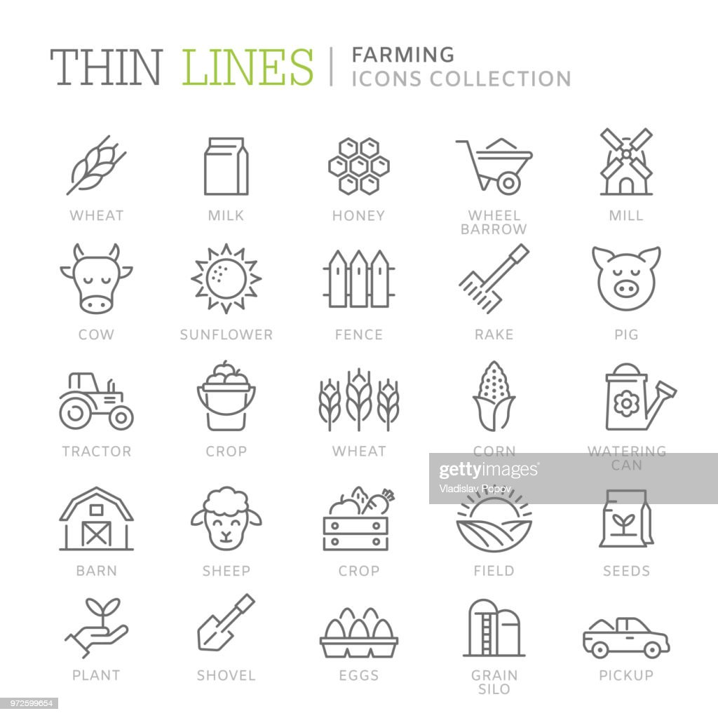 Collection of farming thin line icons