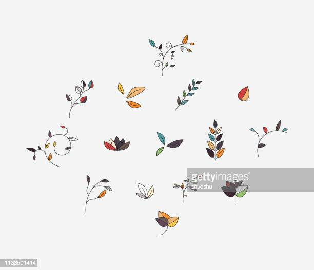 collection of fashion plant pattern - floral pattern stock illustrations