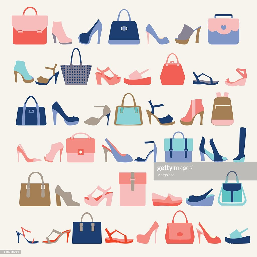 Collection  of  fashion Women bags and High Heels shoes