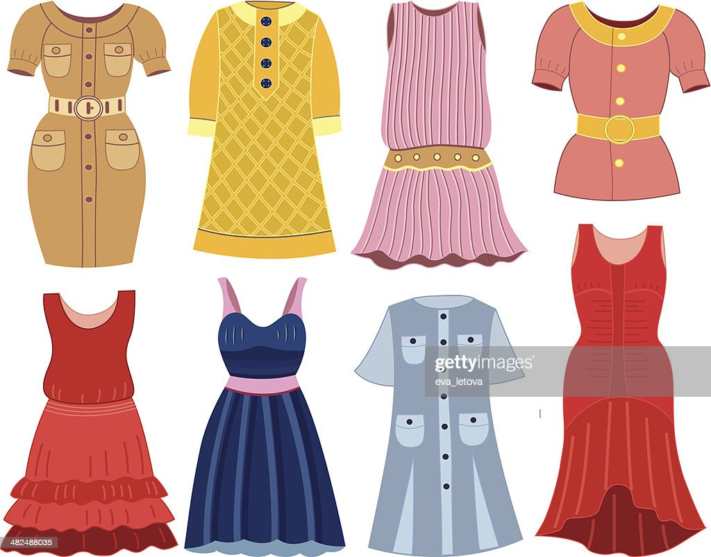 collection of fashionable women's dress (vector illustration)